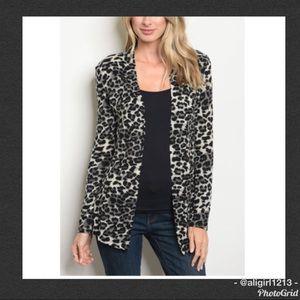 Jackets & Blazers - Sals - Leopard Print Cardigan